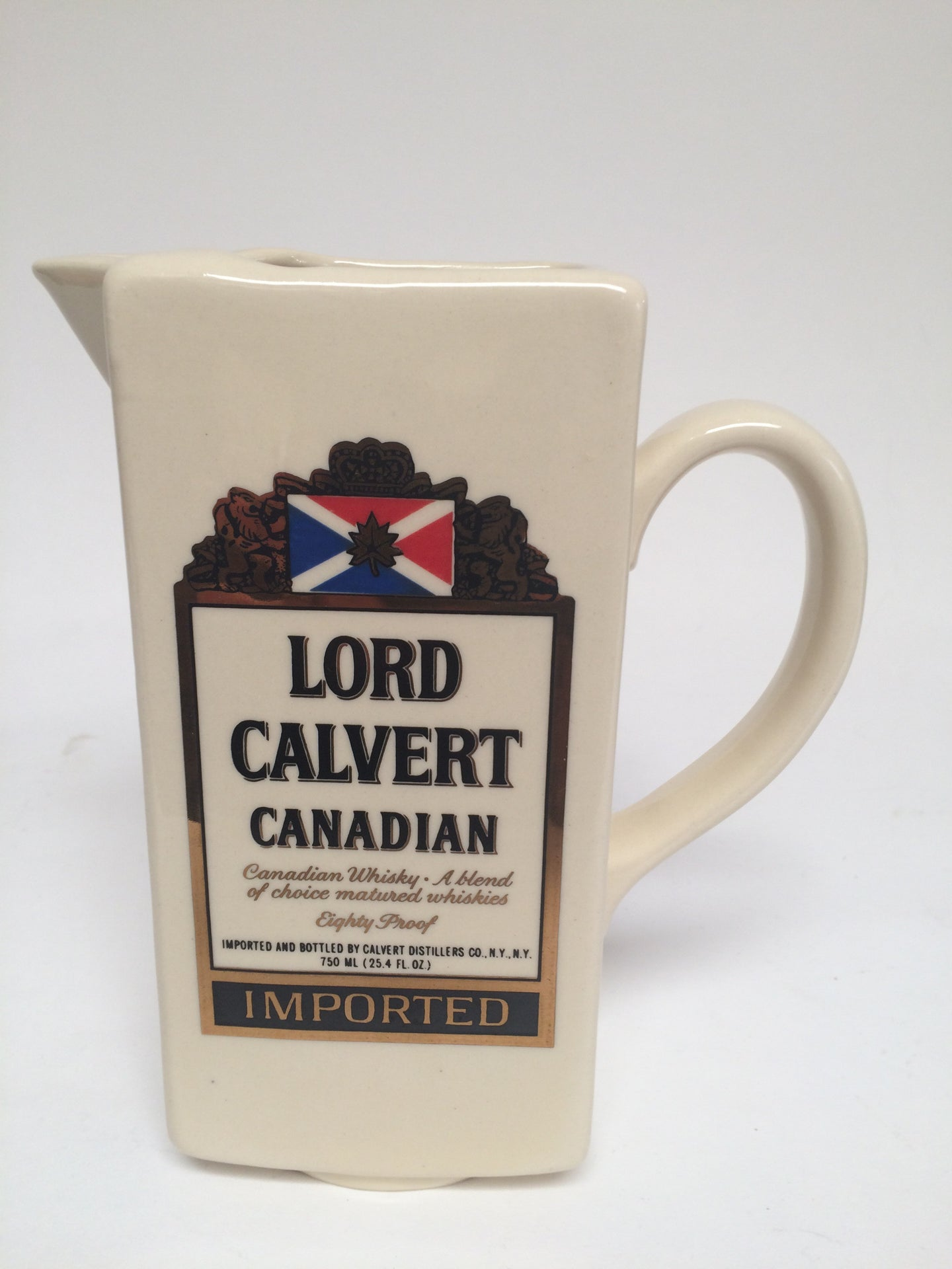 Vintage Lord Calvert Canadian Whiskey Jug Pitcher