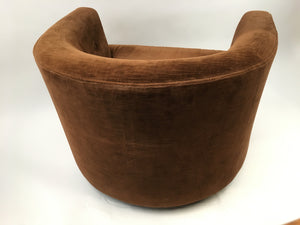 Mid Century Chocolate Brown Velvet Barrel Chair on Rollers
