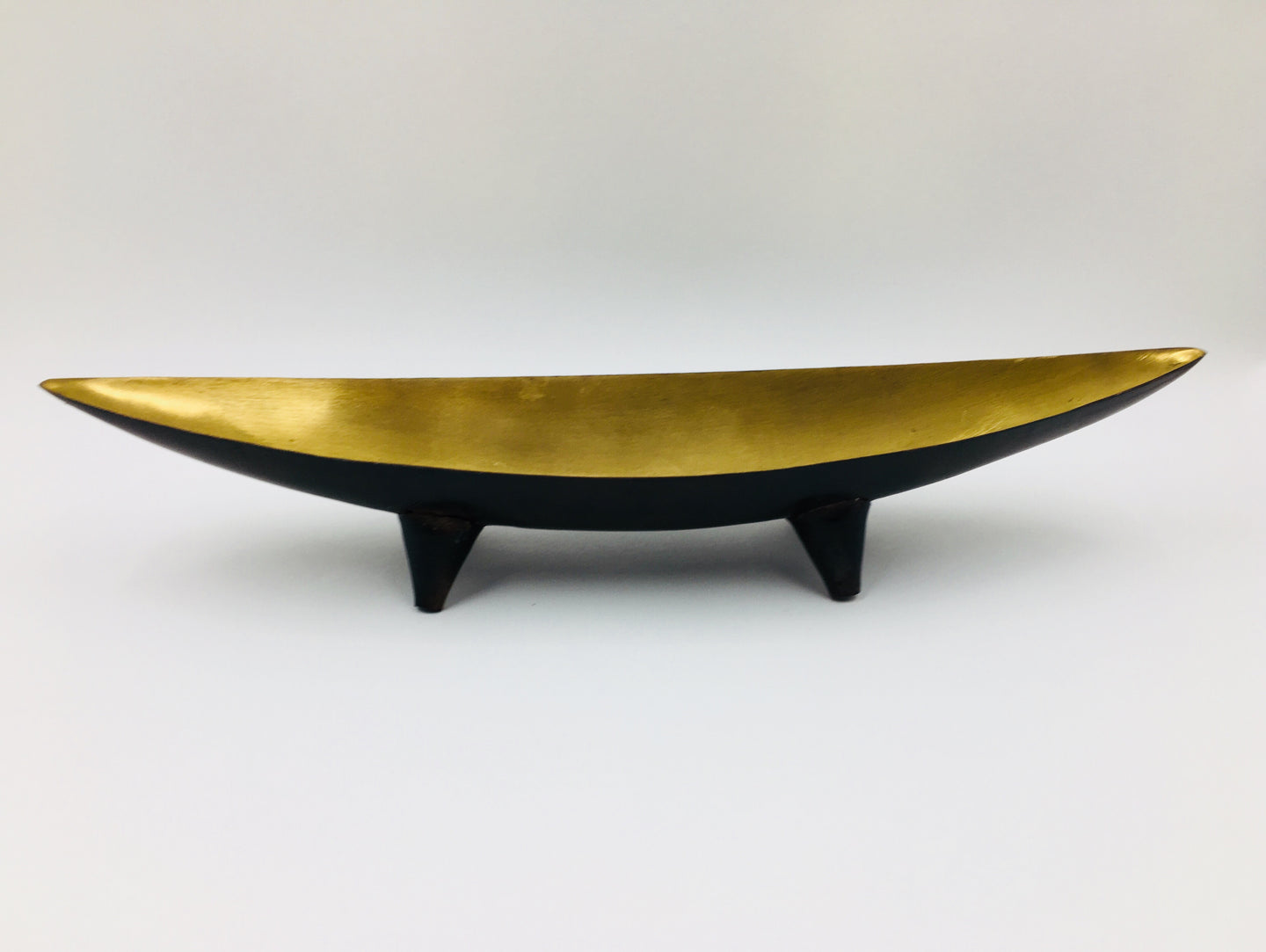 Mid Century Brushed Gold Footed Metal Dish