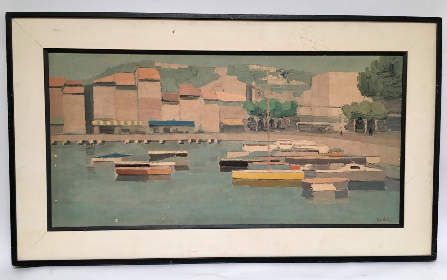Mid Century Gouache Painting of The Yellow Boat by French Artist Pierre  Palué