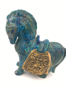 Mid Century Bitossi Horse Sculpture by Aldo Londi with Chinese Glazed Finish