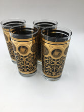 Vintage Hollywood Regency Black and Gold Highball Glasses