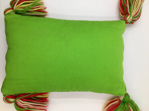 Rectangular Boho Needlepoint Pillow with Tassels