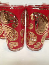 Vintage Culver Red Paisley Highballs Set of 6