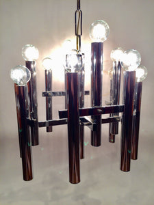 Vintage Sciolari 12 Light Chrome Chandelier, Italy