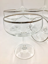 Mid Century Silver Rimmed Champagne Coupes - Set of 7