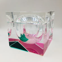 Italian Neon Pink and Green Lucite Ice Bucket by Alessandro Albrizzi