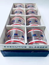 Red White and Blue Drum Rocks Glasses by Federal Glass Co with Original Box/Set of 8