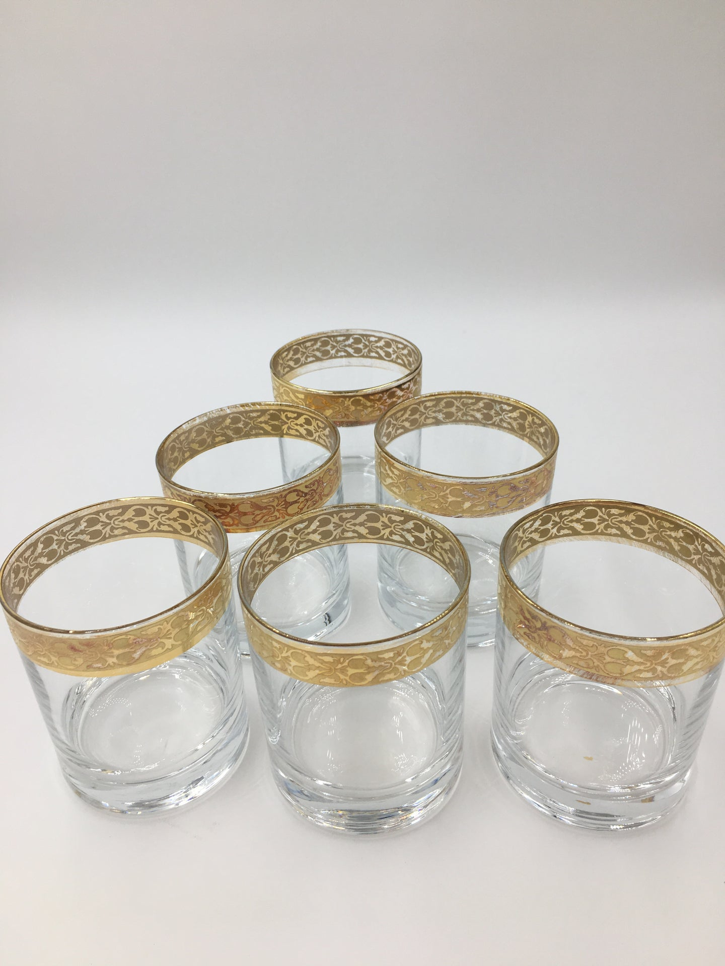 Vintage Gold Rimmed Small Rocks Glasses Set of 6