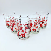 Mid Century Georges Briard Santa & Reindeer Double Old Fashioned Glasses Set of 5
