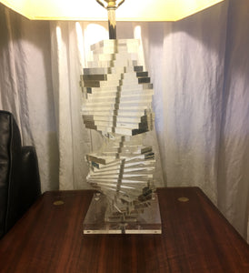 Hollywood Regency 1970s Stacked Lucite Table Lamp Signed Marlee