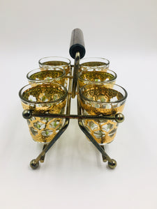 Mid Century Culver Valencia Shot Glasses in Caddy