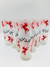 Libbey Red Horses and Black Stars Tom Collins Set of 7