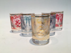 Vintage Colored Etched Glass Shot Glasses