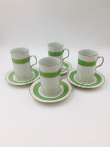 Set of 4 Fitz and Floyd Espresso Mugs and Saucers