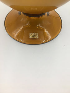 Vintage Italian Empoli Mid-Century Glass Compote and Cover in a Caramel Hue