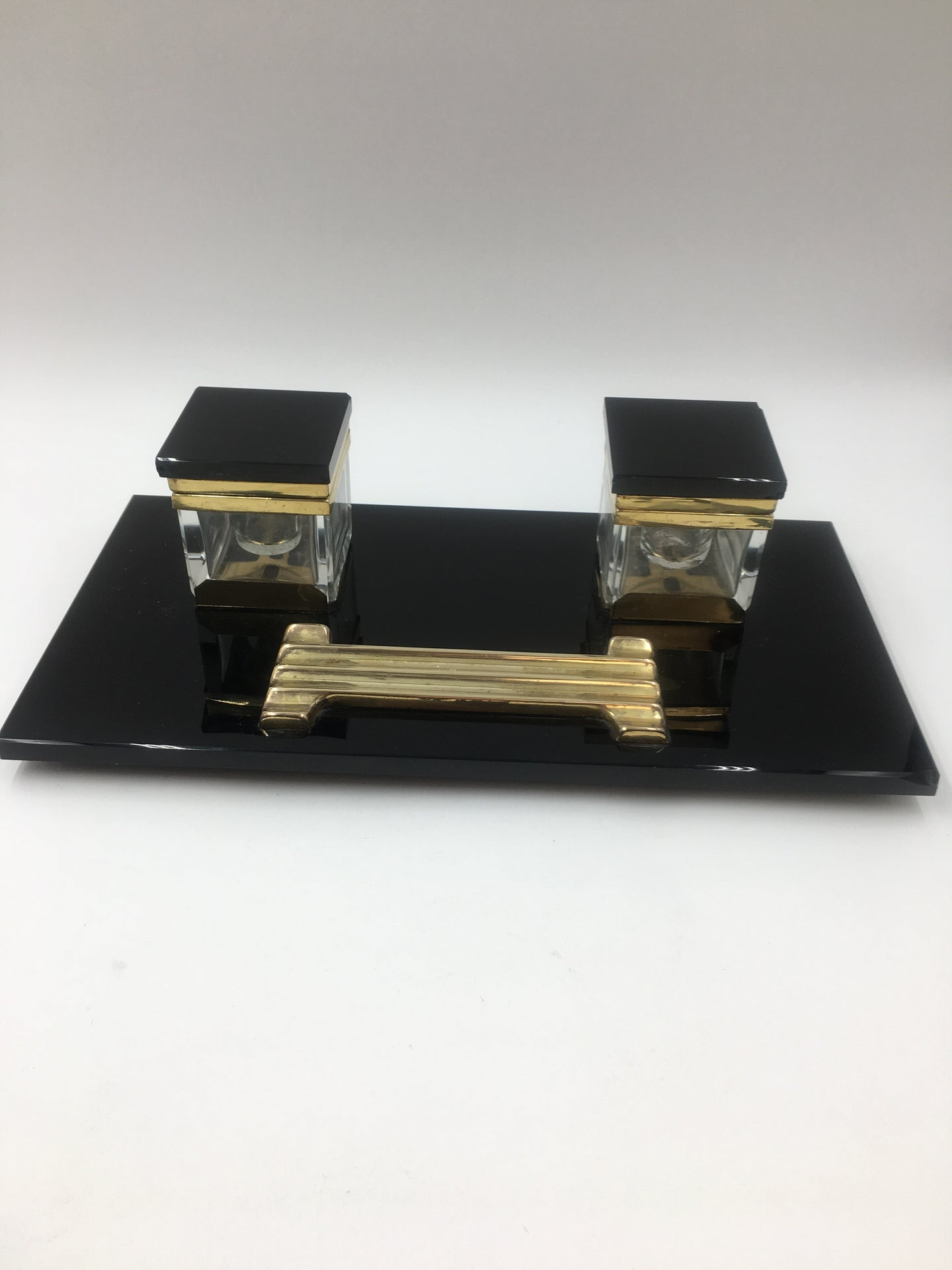 Art Deco Modernist Black Glass and Brass Desk Set