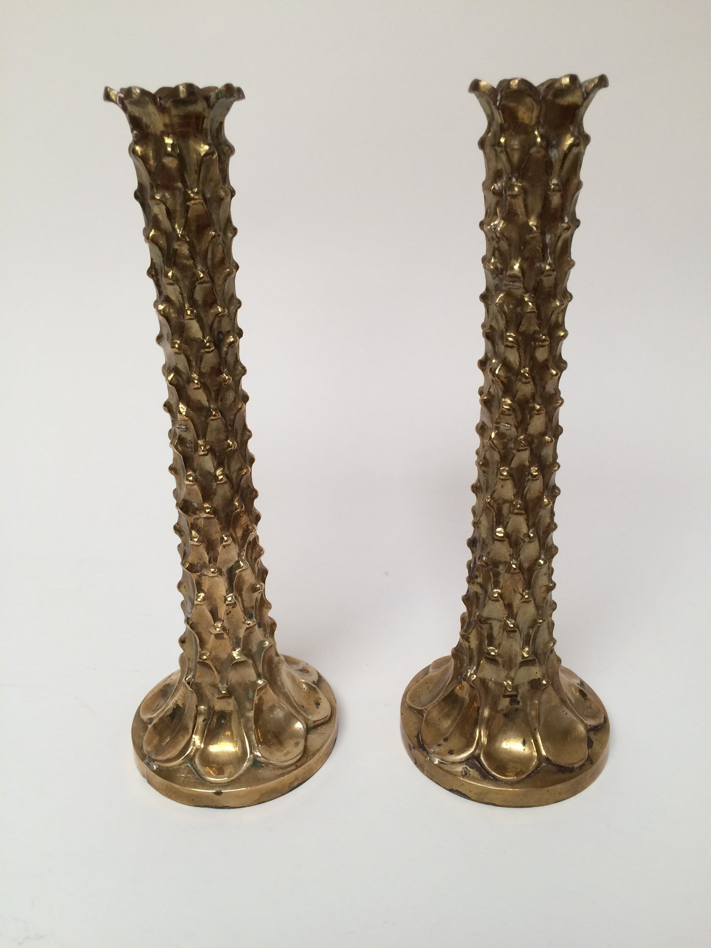 Pair of Vintage Brass Brutalist Candlesticks