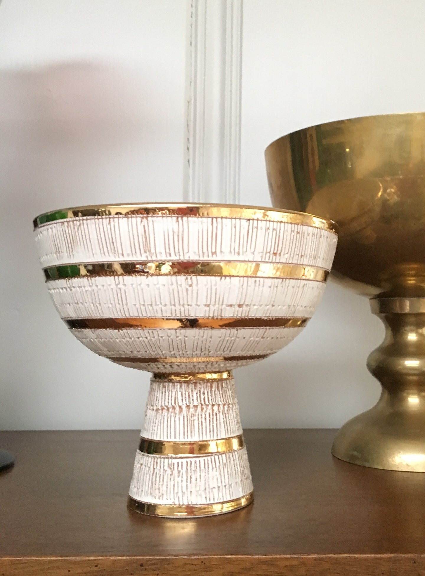 Mid Century Bitossi Gold and White Bowl with Pedestal Base