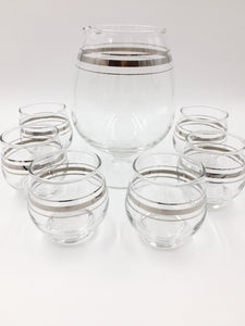 Mid-Century Silver Band Cocktail Pitcher Set with 6 Glasses