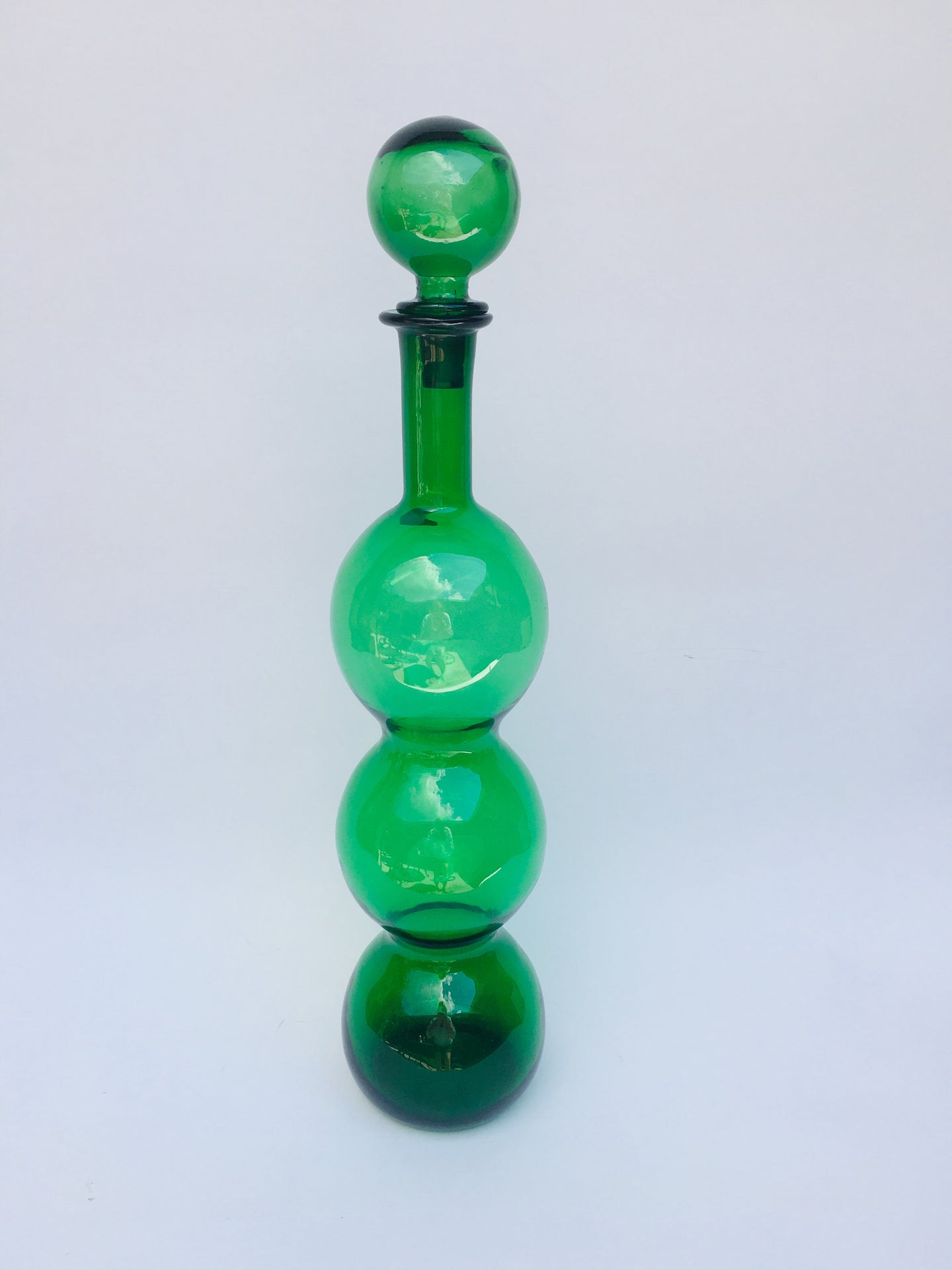 Mid Century Modern Kelly Green Guildcraft Decanter