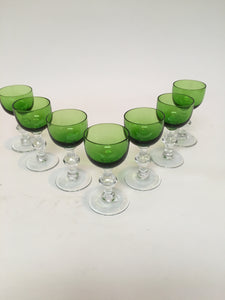Set of 7 Vintage Mid Century Green Cordials