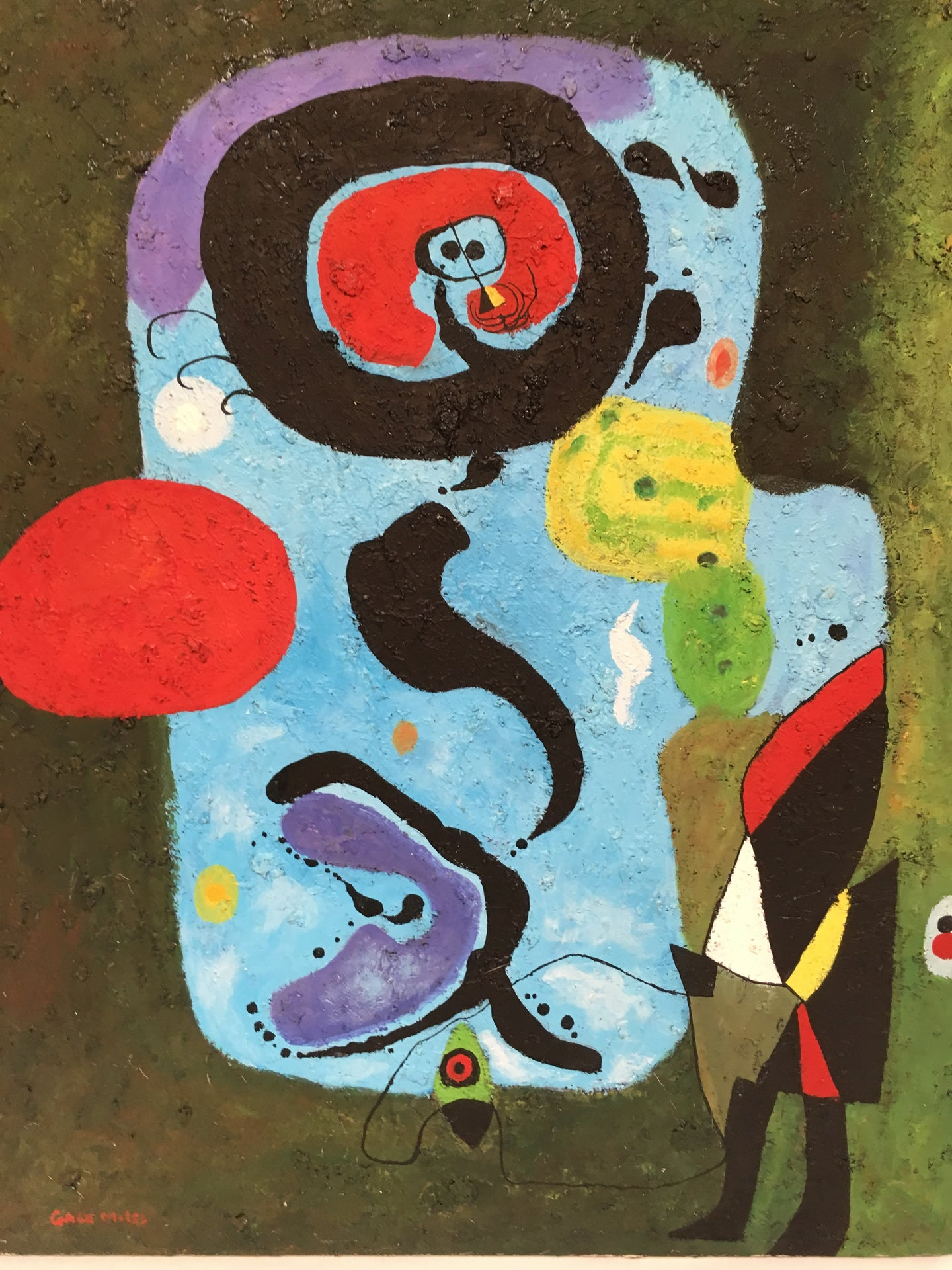 Surrealist Acrylic Painting on Canvas by Gale Miles after Joan Miro