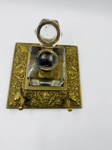 Vintage English Brass Inkwell