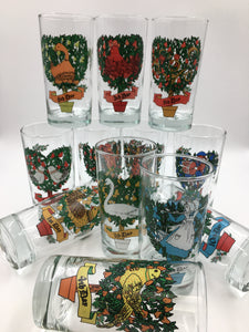 Vintage Indiana Glass 12 Days of Christmas Glasses Complete Set of 12