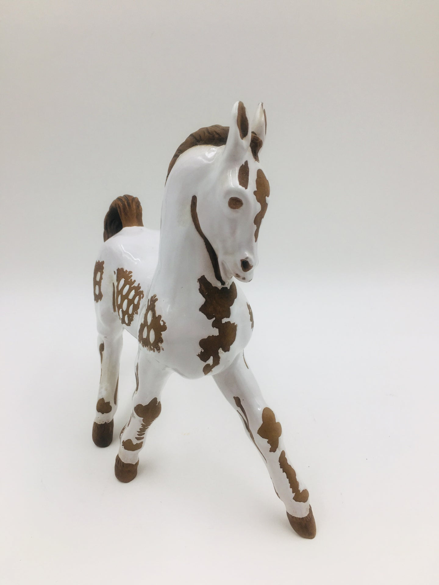 Mid Century Italian Zaccagnini Brown and White Horse