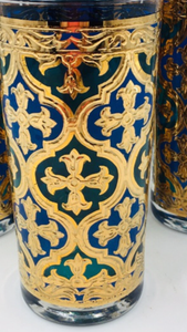 Georges Briard Firenza Blue & 22k Gold Italian Renaissance Cross Highball Glasses - Set of 5