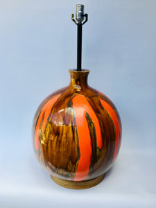 Extra Large Mid-Century Orange & Brown Ceramic Table Lamp