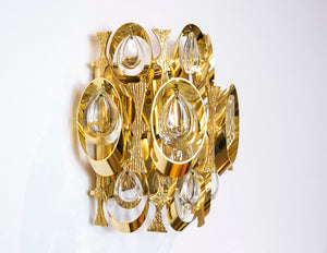 Sciolari Crystal and Gold Plated Brass Sculptural Wall Sconce