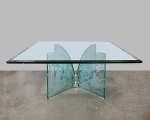 Hand Etched Glass Square Coffee Table in the style of Karl Springer