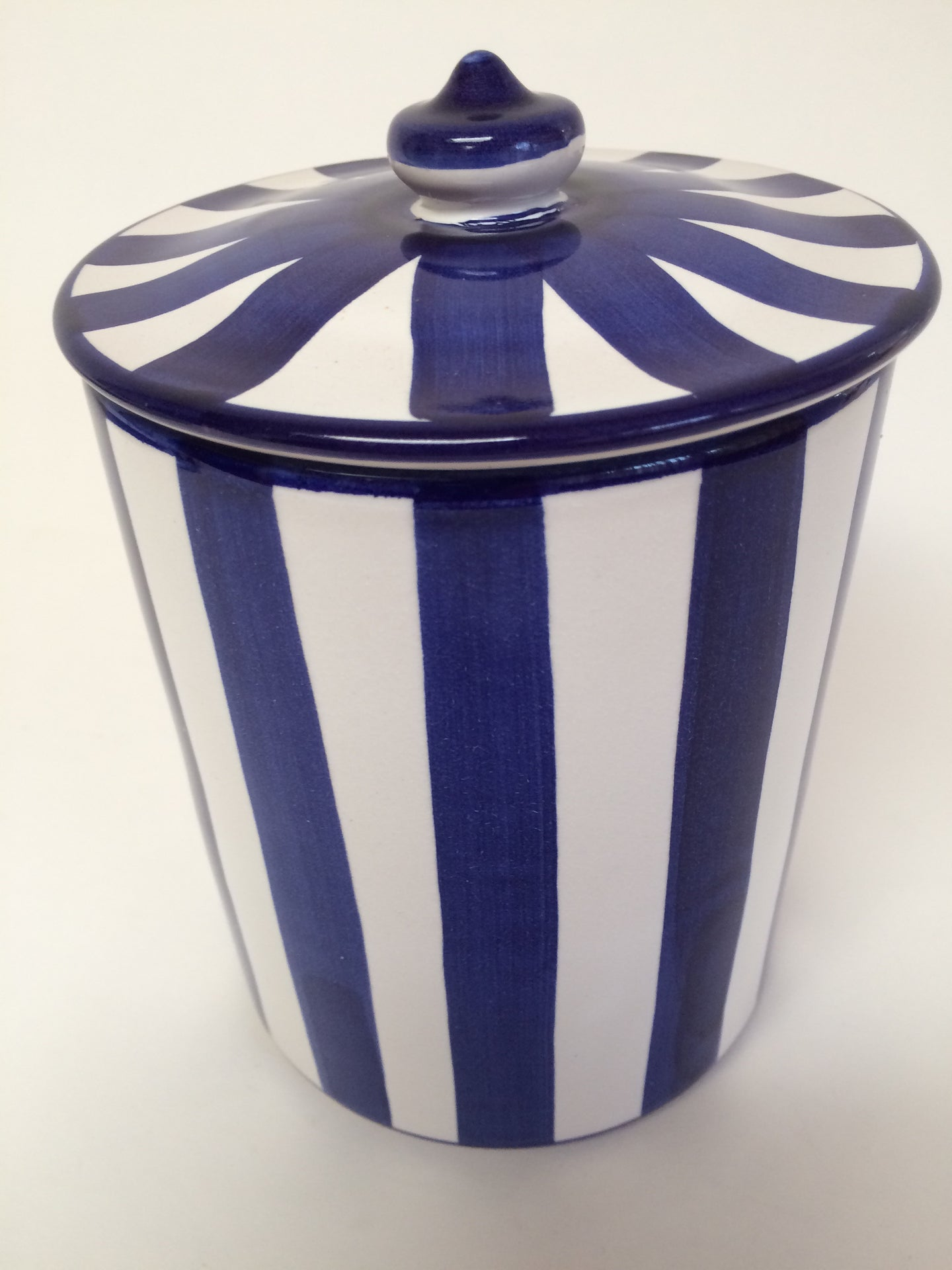 Lidded Blue and White Ceramic Canister Stash Jar Made in Italy for Vietri