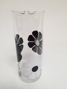 Vintage Mod Colony Black and White Daisy Cocktail Pitcher