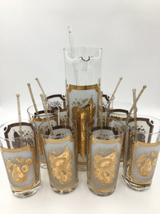 Georges Briard Cocktail Set  with 8 Highball Glasses with Gold Swizzle Sticks and the Matching Cocktail Pitcher