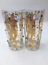 Mid Century Culver Harlequin Mardi Gras Bar Glasses - Set of 8