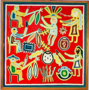 Vintage Neirika Yarn Painting by the Huichol Indians