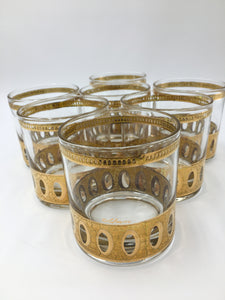 Mid Century 22k Gold Culver Antigua Rocks Glasses Set of 7