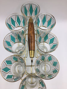 Vintage Libbey Emerald Baguette Pilsner Beverage Caddy Set
