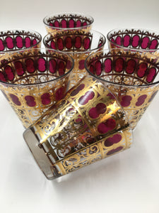 Set of 7 Culver Cranberry Scroll Tapered Rocks Glasses