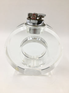 Large Mid Century Circular Lucite Table Cigarette Lighter