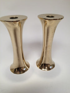 Pair of Trumpet Brass Candlesticks in the style of Torben Ørskov Danish Mid-Century