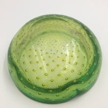 Vintage Italian Green Murano Bullicante Art Glass Ashtray