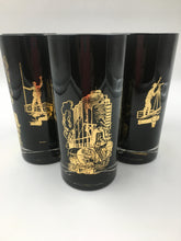 Vintage Black and 22k Gold Highball Glasses with Oil Derricks and Surveyors