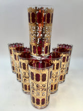 Mid Century Modern Culver Cranberry Scroll Highball Glasses - Set of 8
