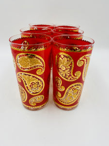 Vintage Culver Red and 22k Gold Paisley Highballs - Set of 6