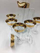Hungarian Gold Banded Cocktail Set with Six Martini Glasses