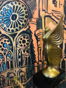 Modern Art Deco Brass Winged Female Nude on Black Base